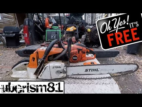 The scrap metal gods are smiling upon me. Free STIHL Chainsaw, Snowblower, lots of Copper too!
