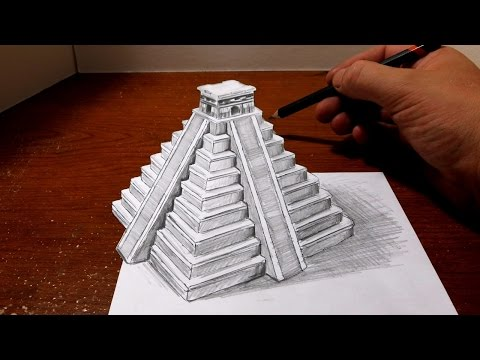 Drawing a Mayan Pyramid - Optical Illusion
