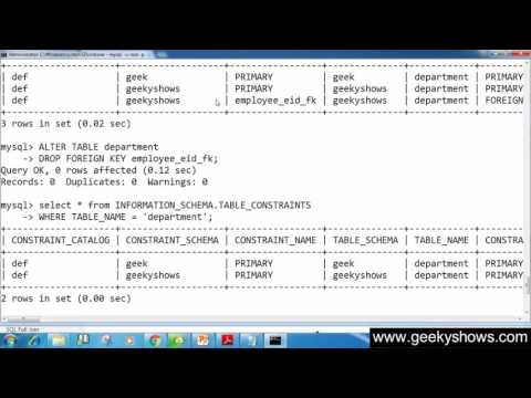 108. Drop Foreign Key from Table in SQL (Hindi)