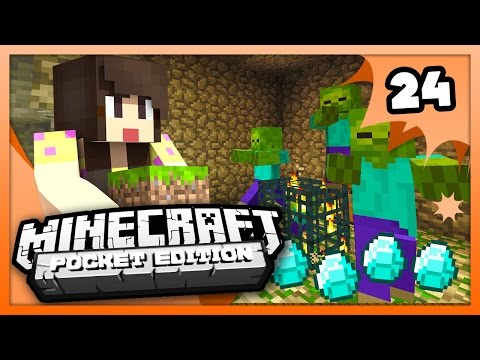 Survival Let's Play Ep. 24 - DIAMONDS AND DUNGEONS! - Minecraft PE (Pocket Edition)