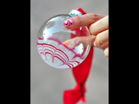 Water Marble Candy Cane Glass Ornament with Nail Polish Tutorial