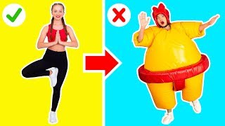Download THE GYMNASTICS CHALLENGE IN GIANT SUMO SUITS || Funny gymnastics by 123 GO! Challenge Video