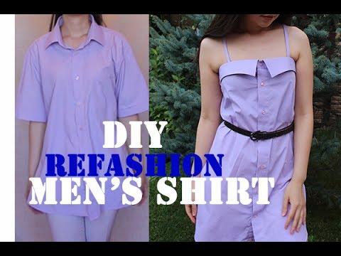 Cute dress from Men's shirt. DIY Diary [EP 11]