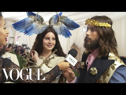 Lana Del Rey and Jared Leto on Their Gucci Ensembles | Met Gala 2018 With Liza Koshy | Vogue