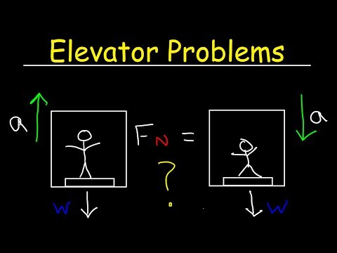 Elevator Physics Problem, Normal Force on Scale, Apparent Weight, Free Body Diagrams