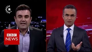 TV channel live on air during Iraq-Iran earthquake - BBC News