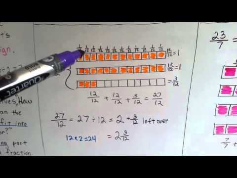 Grade 4 Math 8.4a, Turn Improper Fraction into Mixed Number