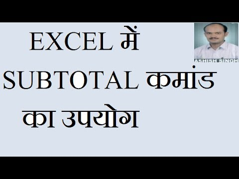 Subtotal command in Excel  In Hindi