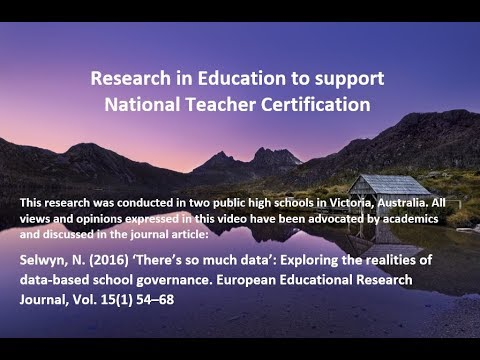 Educational Data - Research for Lead & HA Teacher Certification AITSL Professional Standards