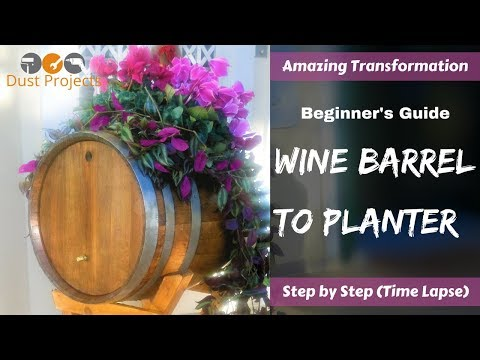 Amazing Wine Barrel Transformation to Planter! Step by Step (Time Lapse)