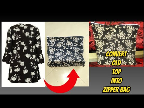 convert old top into zipper bag-diy best out of waste