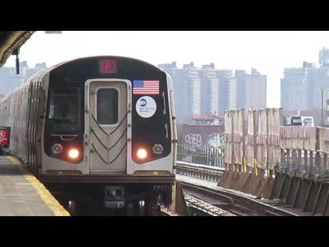 IND Culver Line: Coney Island and Jamaica-179th St bound R46 and R160 (F) Train Action at Avenue N