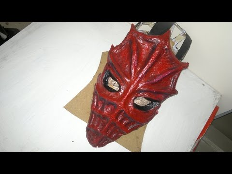 Making of a Skyrim Dragon priest mask zahkriisos tutorial with cardboard and paper's