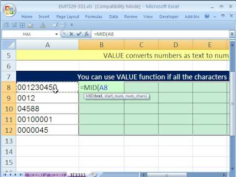 Excel Magic Trick 331: EXTRACT Numbers without Leading Zeros