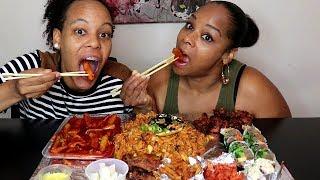 Download Americans Try Korean Food Mukbang먹방 (Tteokbokki, Kimbap, Kimchi and more!) Video