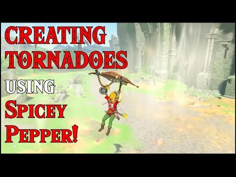 CREATING TORNADOES using Spicy Pepper! ENDLESS Updraft Gales in Zelda Breath of the Wild