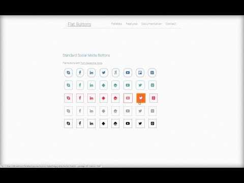 Flat Social Media Css Buttons HTML