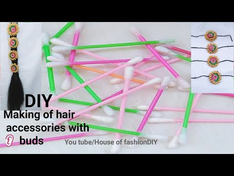 DIY|| Making of Hair Accessories/Jada Billalu  With Ear Buds/Cotton Swabs..!