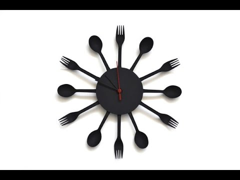Kitchen clock made with disposable flatware