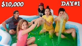 LAST TO LEAVE SLIME POOL WINS $10.000 DOLLAR DAY#1 | SISTER FOREVER