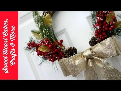 DIY Festive Christmas Wreath - Red & Gold  🎄