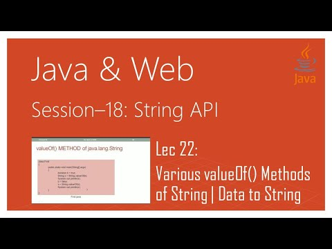String API in Java | #22 | Various valueOf() Methods of the String Class in Java | Data to String