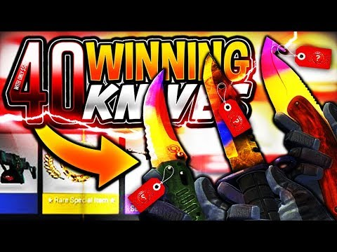 WINNING 40 KNIVES with $50 ONLY!?! (CSGO)