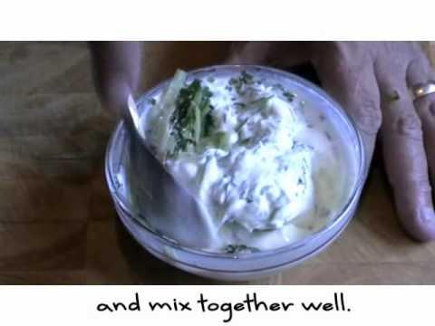 Making a mint, cucumber and yoghurt dressing