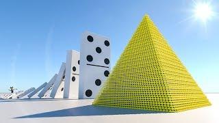 Domino Effect V13 VS Domino Pyramid  - The largest domino simulation