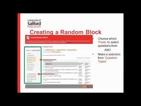 Creating Random Blocks in Blackboard Tests