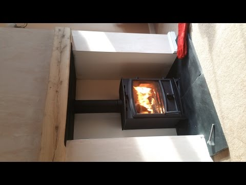Fireline 5kw Wide Stove Installation of Fireplace and Insulated Flue System