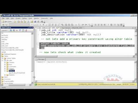 introduction to sql server 2008 - create index using t-sql
