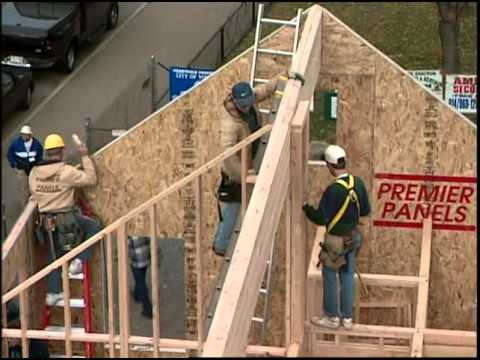 Setting the Glulam Ridge Beam and Structural Insulated Roof Panels