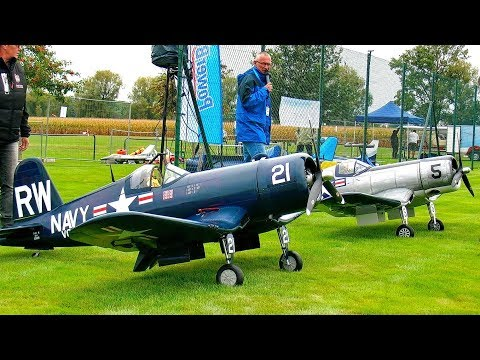 2X HUGE RC SCALE MODEL AIRPLANE F4U CORSAIR IN AMAZING DETAIL FLIGHT DEMONSTRATON