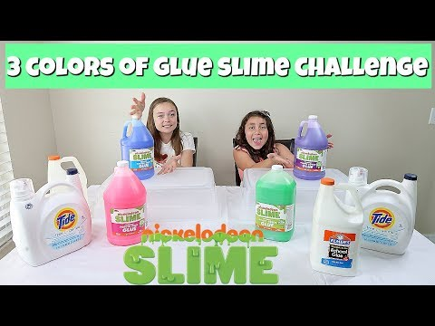 GIANT 3 COLORS OF GLUE SLIME CHALLENGE WITH NICKELODEON SLIME GLUE!