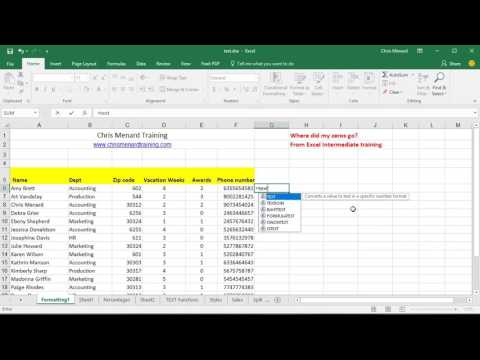 Text function to add leading zeros in Excel by Chris Menard