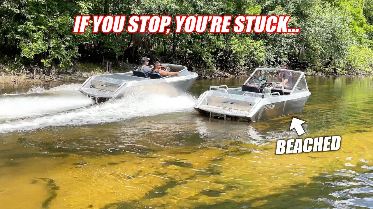 Taking Our Supercharged Mini Jet Boats Up the SHALLOWEST River Possible... NAILED a Boulder!!!