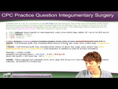 CPC Exam Practice Questions on Integumentary Surgery Coding