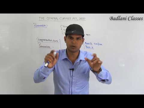 CA Inter : Law : General Clauses Act, 1897 : Lecture 1