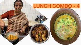 Lunch Combo -4 / Milagai killi sambar/Potato masala fry/Pudalankai podimas by Revathy Shanmugam