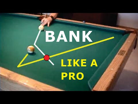 Pool and billiards bank shot drill for learning cut-angle effects, from VEPP IV (NV C.14)