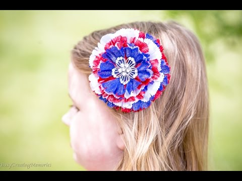 Easy Patriotic Hair clips Tutorial - 4th of July - Red, White and Blue