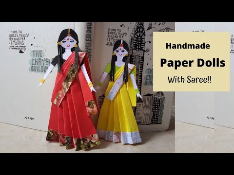 How to make paper doll #girls in sari