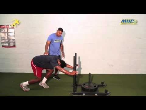 Football Training Tips with Cornell Hunt: Sled Push and Sprint Superset