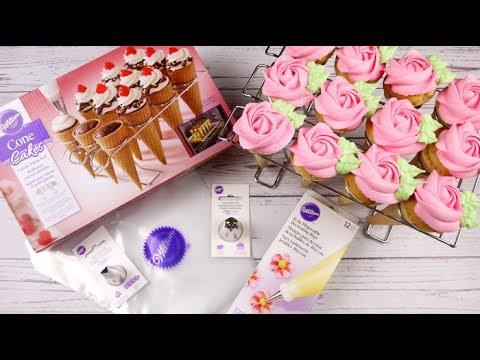 Simple Rose Cone Cupcakes