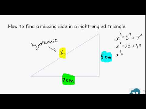 how to find a missing side in a right angled triangle