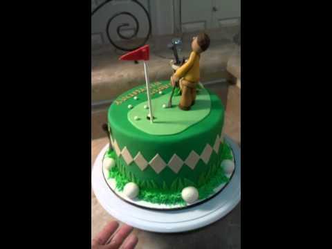 Golf Theme Birthday Cake, Man Putting