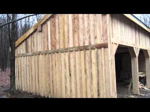 Pole Barn - continuing on the board & baton siding and working on some trail work - 11-13-2010