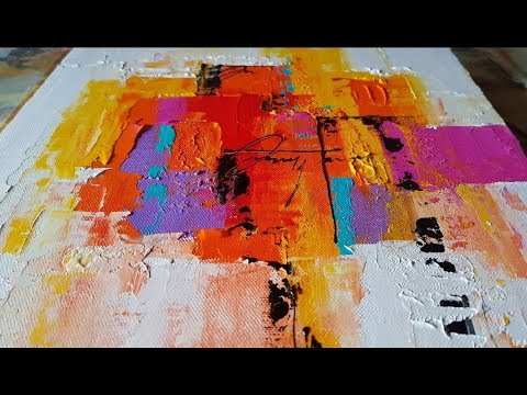 Abstract painting / Easy Palette Knife technique / Colorful /Acrylics / Demonstration