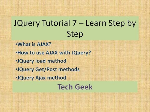 JQuery Tutorial 7 | JQuery AJAX | Learn Step by Step